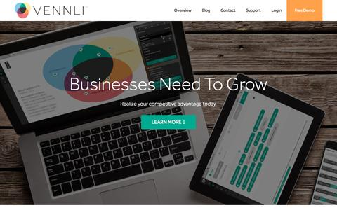 Screenshot of Home Page vennli.com - Growth Strategy Creation & Execution Software | Vennli - captured Oct. 1, 2015