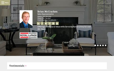 Screenshot of Testimonials Page barrierealty.com - Testimonials - Brian McCracken, Royal LePage First Contact Realty - captured Dec. 21, 2018