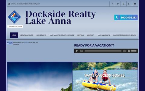 Screenshot of Home Page docksiderealty.com - Lake Anna Real Estate - Dockside Realty - Lake Anna Virginia - captured Aug. 7, 2018