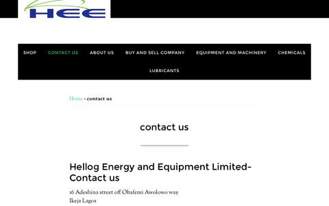 Screenshot of Contact Page hellogenergy.com - contact us - Hellogenergy - captured Nov. 7, 2016