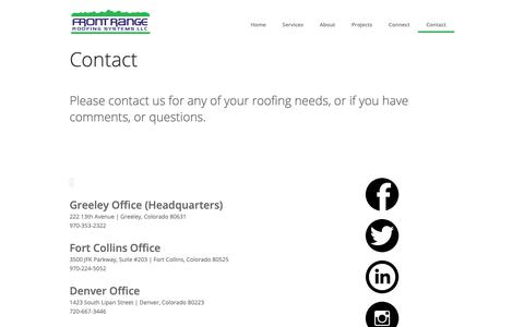 Screenshot of Contact Page frontrangeroofing.com - Contact   Front Range Roofing - captured Oct. 11, 2018