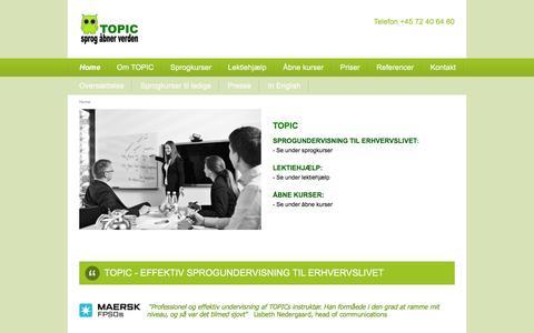 Screenshot of Home Page topic.dk - SPROGUNDERVISNING TIL ERHVERVSLIVET - captured Dec. 3, 2016