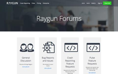 Screenshot of Support Page raygun.io - Support forums and feature requests for Raygun | Raygun - captured Nov. 3, 2015