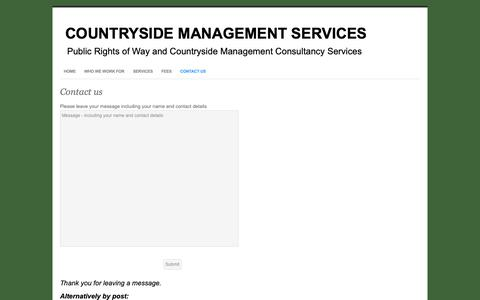Screenshot of Contact Page countrysidemanagementservice.co.uk - Contact us - Countryside Management Services - captured Sept. 29, 2018