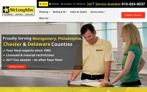 Screenshot of Home Page mcloughlinphc.com - Delaware County Plumber | HVAC Repair & Installation Upper Darby PA - captured Oct. 17, 2018