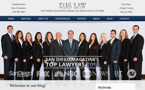 Screenshot of Blog irssolution.com - Southern California Tax Law Blog | RJS Law Firm - captured Feb. 17, 2016