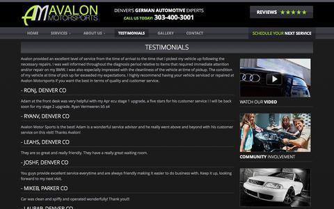 Screenshot of Testimonials Page avalonmotorsports.com - Testimonials - Avalon Motorsports - captured Oct. 29, 2014