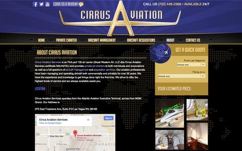 Screenshot of About Page cirrusav.com - Private Plane Charter | Aircraft Management | Aircraft Acquisition | 702-448-2366 | Cirrus Aviation - captured Oct. 2, 2014