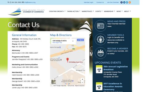 Screenshot of Contact Page annearundelchamber.org - Contact Us | Anne Arundel Chamber of Commerce - captured Jan. 4, 2017