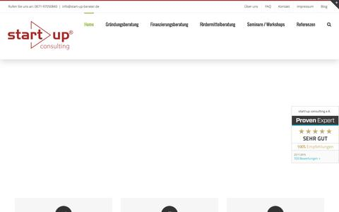 Screenshot of Home Page start-up-berater.de - Unternehmensberatung - Existenzgründungsberatung start!up - captured Jan. 19, 2016