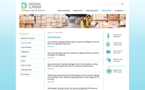 Screenshot of Case Studies Page digitallumens.com - Case Studies - LED High Bay Lighting | Digital Lumens - captured Sept. 15, 2014