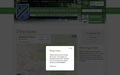 Screenshot of Maps & Directions Page hillsidetennis.ca - Directions | Hillside Tennis Club - captured Oct. 1, 2014