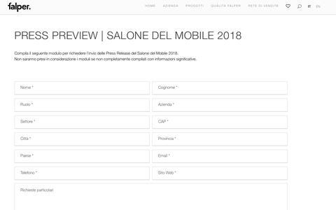 Screenshot of Press Page falper.it - Salone del mobile 2018 - Falper - captured Aug. 12, 2018