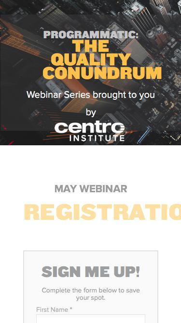 Centro Institute Webinar Registration
