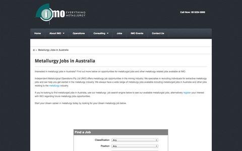 Screenshot of Jobs Page indmetops.com.au - Metallurgy Jobs Australia | Find Metallurgist Jobs in Australia - captured Oct. 6, 2014