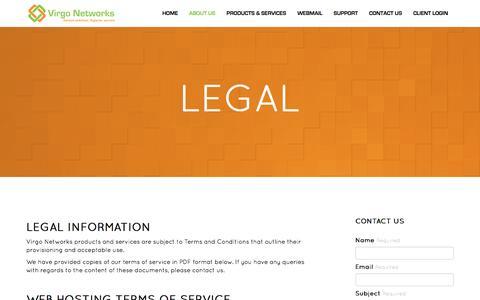 Screenshot of Terms Page virgo-networks.co.uk - Virgo Networks :: Legal - captured Dec. 14, 2016