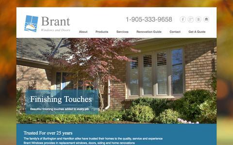 Screenshot of Home Page brantwindows.com - Windows and Doors Burlington - Brant Windows And Doors - captured Jan. 28, 2015