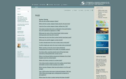 Screenshot of FAQ Page ctbto.org - FAQs: CTBTO Preparatory Commission - captured Sept. 19, 2014
