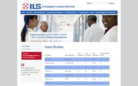 Screenshot of Case Studies Page invlocate.com - Case Studies - captured Oct. 6, 2014
