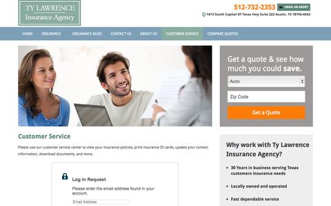 Screenshot of Support Page tylawrenceinsurance.com - Customer Service | Ty Lawrence Insurance Agency - captured Oct. 9, 2014