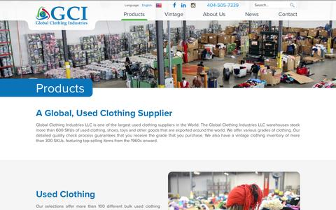 Screenshot of Products Page gciatl.com - Products | Global Clothing Industries - captured May 21, 2016