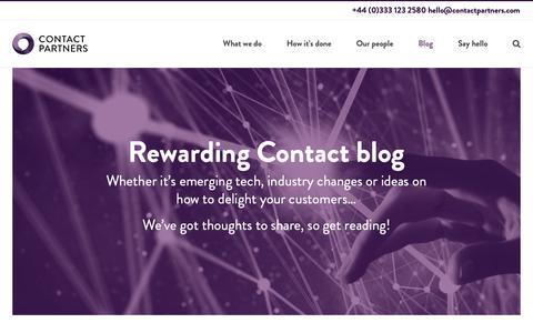 Screenshot of Blog contactpartners.com - Rewarding Contact blog - ContactPartners Ltd - captured Sept. 29, 2018