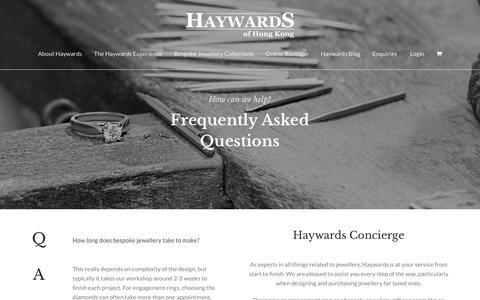 Screenshot of FAQ Page haywards.com.hk - FAQ - Haywards of Hong Kong - captured Sept. 27, 2018