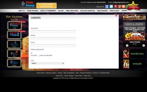 Screenshot of Jobs Page bestgoacasino.com - Careers at Casino Pride | Best Casino in Goa | Casino Packages in Goa | Poker Tournaments Goa | Floating Casino in Goa India |Offshore  casinos in Goa | casino deals Goa | casino in India - captured Oct. 1, 2014