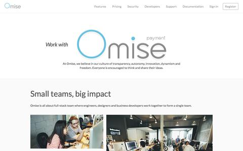 Screenshot of Jobs Page omise.co - Omise: Work at Omise - captured Feb. 21, 2016