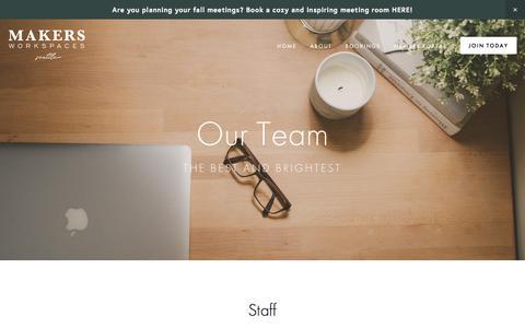 Screenshot of Team Page makersworkspaces.com - Team — MAKERS - captured Sept. 21, 2018