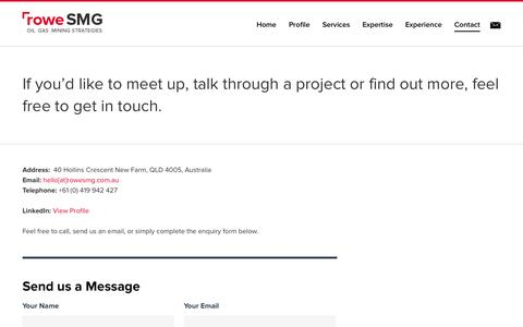Screenshot of Contact Page rowesmg.com.au - Contact - roweSMG - captured Oct. 9, 2014