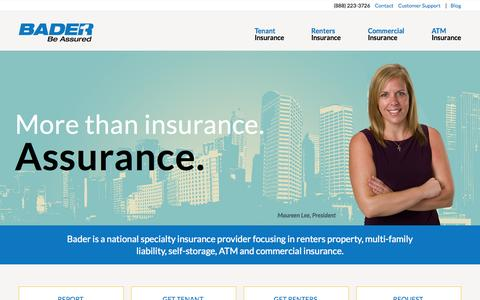 Screenshot of Home Page baderco.com - Bader Company | Self-Storage, Multi-Family, ATM and Commercial Insurance - captured Jan. 28, 2015