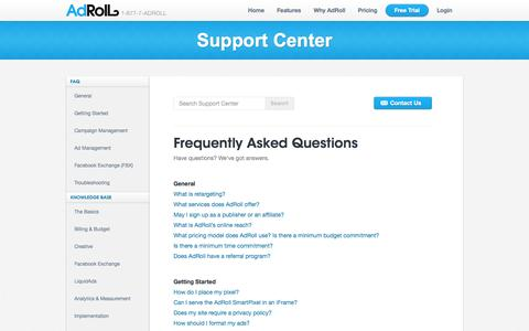 Screenshot of FAQ Page adroll.com - Frequently Asked Questions - AdRoll Support - captured Sept. 13, 2014