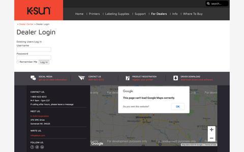 Screenshot of Login Page ksun.com - Dealer Login - - captured Oct. 14, 2018