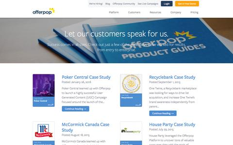 Screenshot of Case Studies Page offerpop.com - Case Studies | Offerpop - captured April 1, 2016