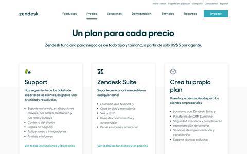 Screenshot of Pricing Page zendesk.com.mx - Precios de Zendesk | Planes desde solo US$5nbsp;5 al mes - captured Nov. 5, 2019