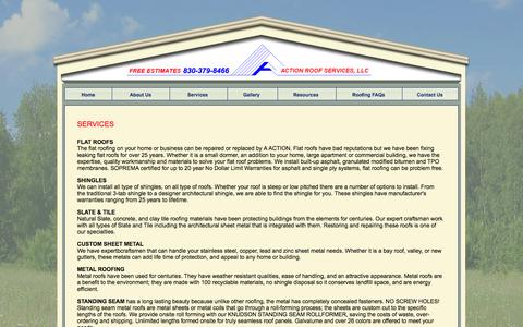Screenshot of Services Page actionroofservices.com - A Action Roof Services Seguin Texas New Braunfels Schertz TX ribbed style shingles slate tile sheet metal - captured Oct. 4, 2014