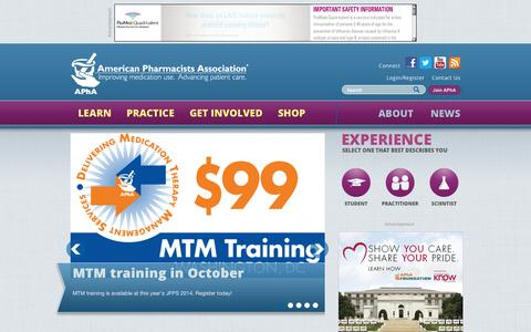 Screenshot of Home Page pharmacist.com - American Pharmacists Association | Improving medication use. Advancing patient care. - captured Sept. 23, 2014