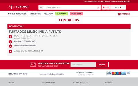 Screenshot of Contact Page furtadosonline.com - Music Instruments Shop Near Me  | Piano, Guitar Stores in Mumbai | Furtados Online - captured Nov. 7, 2018