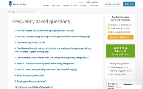 Screenshot of FAQ Page custom-writing.org - Get Answers to Your Questions About Custom Essay Writing - captured Nov. 14, 2016