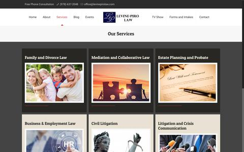 Screenshot of Services Page levinepirolaw.com - Legal Services | Family Law I Levine-Piro Law | Maynard MA - captured July 19, 2018