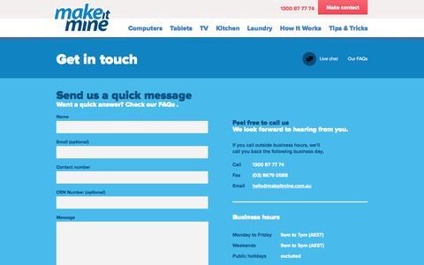 Screenshot of Contact Page makeitmine.com.au - Contact | Make It Mine - captured Sept. 30, 2014