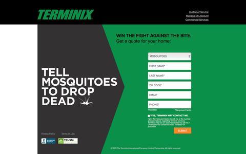 Screenshot of Landing Page terminix.com - Terminix | Pest Control - captured March 23, 2016