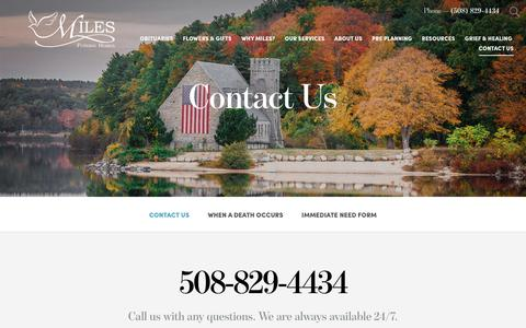 Screenshot of Contact Page milesfuneralhome.com - Contact Us | Miles Funeral Home Holden, MA - captured Oct. 19, 2018