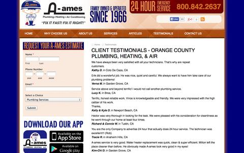 Screenshot of Testimonials Page a-ames.com - Testimonials - Orange County Plumbers - Drain Cleaning Contractors - Heating - Air Conditioning Repair CA - captured Oct. 3, 2014