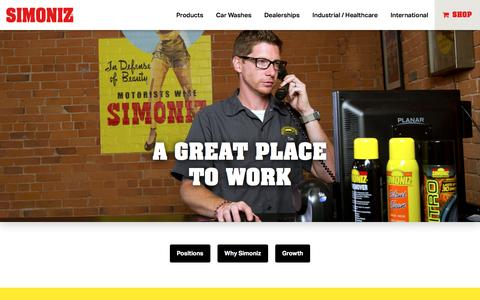 Screenshot of Jobs Page simoniz.com - Careers | Simoniz - captured Jan. 24, 2017