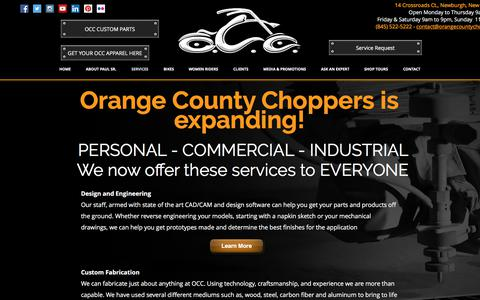 Screenshot of Services Page orangecountychoppers.com - Orange County Choppers | Motorcycle Services - captured June 18, 2017