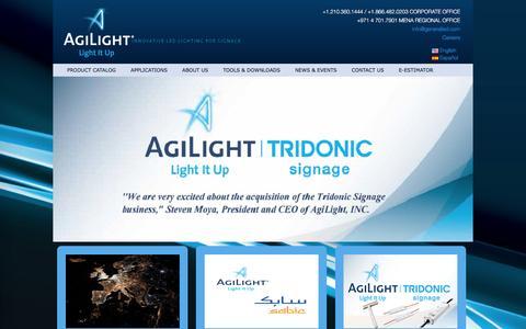 Screenshot of Home Page agilight.com - Agilight | Innovative LED Lighting for Signage - captured Feb. 5, 2016