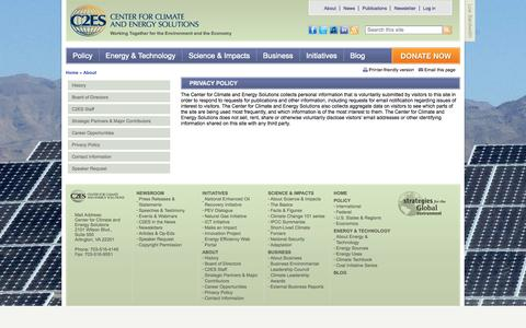 Screenshot of Privacy Page c2es.org - Privacy Policy   Center for Climate and Energy Solutions - captured Sept. 19, 2014