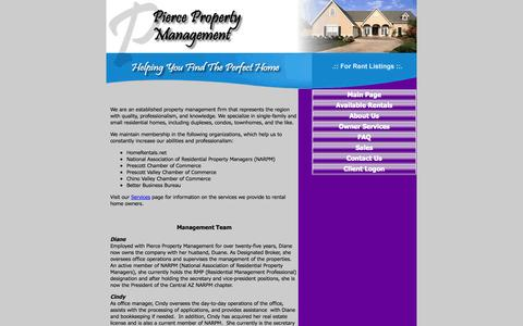 Screenshot of About Page ppmprescott.com - Pierce Property Management - single family homes, townhomes, condos, apartments rent and lease [ABOUT_TEAM] PM Website by HEROPM - captured Oct. 2, 2014